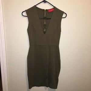 Olive green cocktail dress from Akira